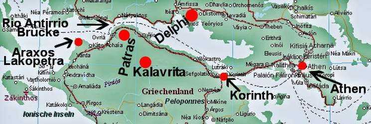 Karte Griechenland Peloponnes.Halbinsel Peloponnes Lakopetra 1997